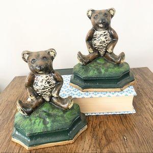 Vintage Cast Iron Teddy Bear Bookends